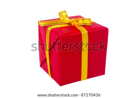 Red christmas gift box isolated on white background