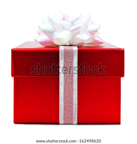 Red Christmas gift box with white bow and ribbon