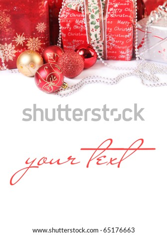 red christmas gifts isolated on white