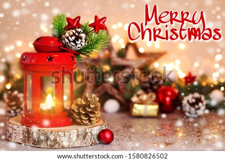 Red Christmas lantern and Christmas tree decor. Greeting card with greeting text. #1580826502