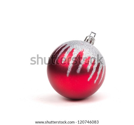 Red Christmas Ornament Ball on White.