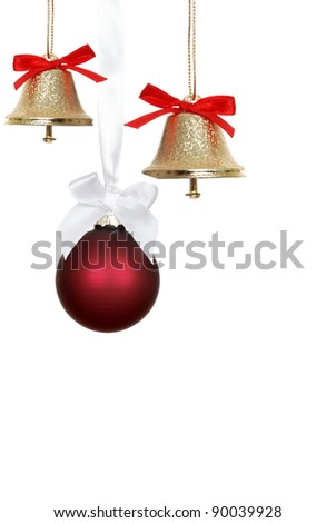Red christmas ornaments and bells