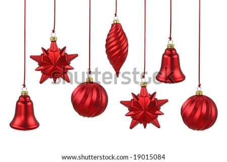 Red Christmas ornaments  isolated on white background