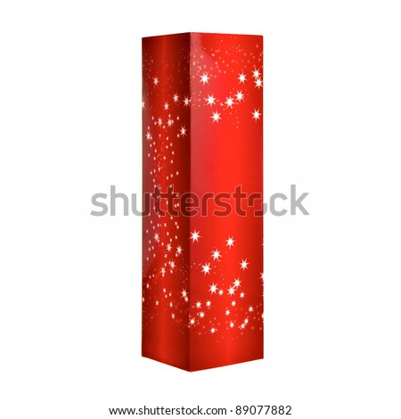 Red Christmas present box isolated on white