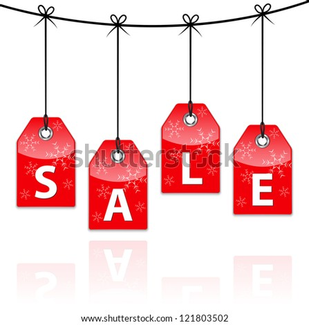Red Christmas sale hanging icons with reflection. Shopping labels