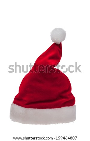 Red Christmas Santa hat isolated on a white background