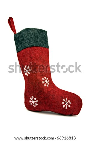 red christmas sock isolated on white background