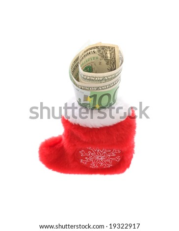 Red christmas sock with euro covering dollars cash money isolated on white
