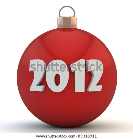 Red Christmas sphere with an inscription 2012