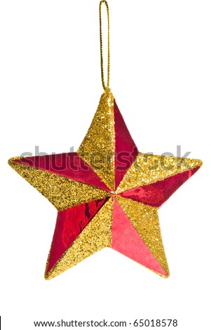 red Christmas star decoration isolated on white background