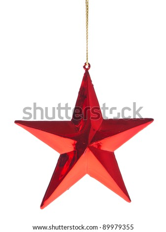 red christmas star isoalted on white background