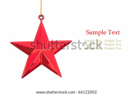 red christmas star isolated on white