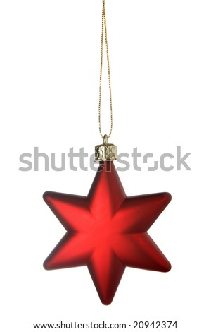 Red Christmas star isolated over a white background