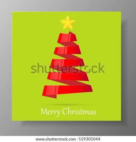 Red Christmas tree from ribbon with yellow star. Illustration.