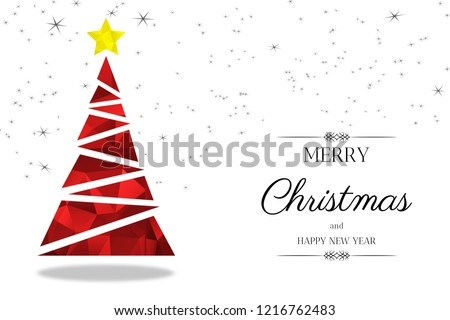 Red Christmas tree greeting card. A stylized Christmas tree red and yellow low-poly patterned on white background, with greeting text and stars. #1216762483