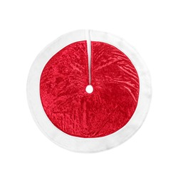 Red Christmas tree skirt isolated on white, top view