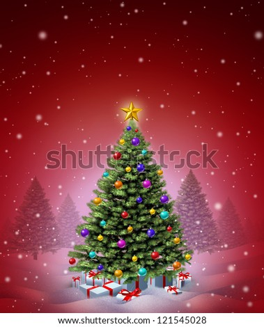 Red Christmas winter tree decorated with ornate decorative balls and gifts with ribbons and bows as a seasonal symbol of winter celebration and festive new year on a magical snowing night.