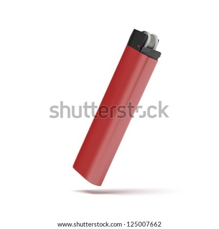 Red cigarette lighter isolated on a white background