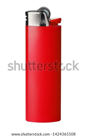 Red cigarette lighter, isolated on white background ストックフォト ©