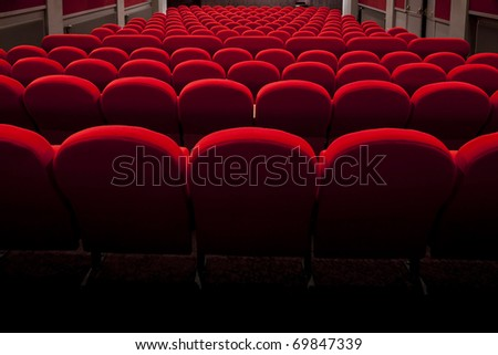 red cinema or theatre empty seats
