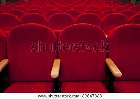red cinema or theatre empty seats - stock photo