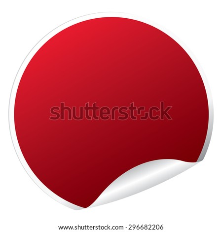 Red Circle Blank Metallic Peeling Sticker, Label, Sign or Icon Isolated on White Background #296682206