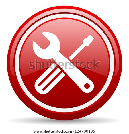 red circle glossy web icon with pictogram on white background