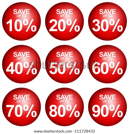 Red Circle Save Up To 10 - 90 Percent OFF Discount Sticker Tag Isolated on White Background - stock photo