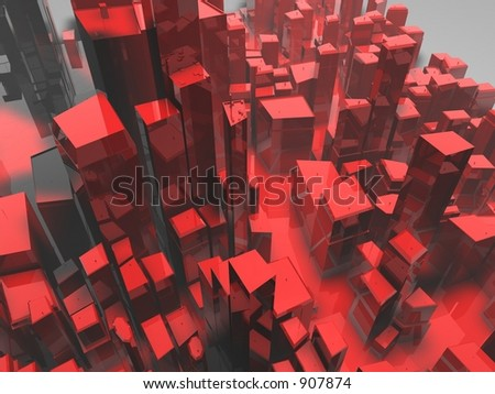 Red city - stock photo