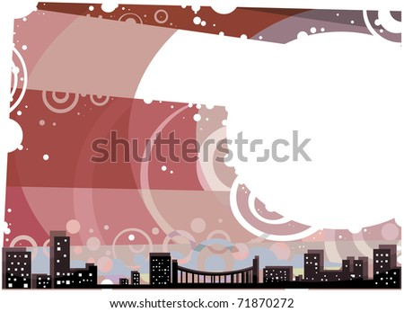Red City Landscape at sunset with white Copy Space Postcard illustration.