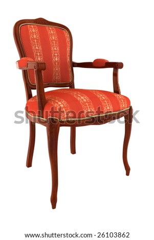 red classic armchair isolated on white background with clipping path - stock photo