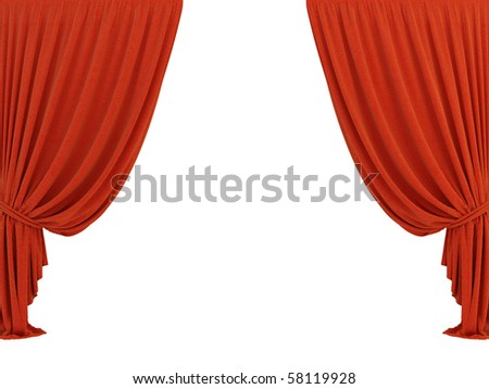 red classic 3d curtain on the white background