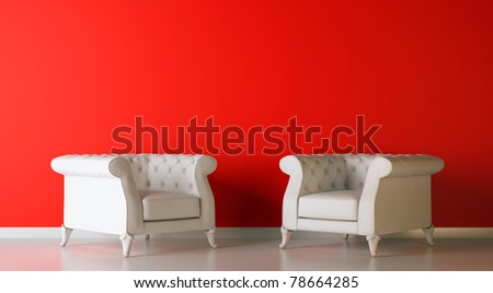 red classic 3d interior composition