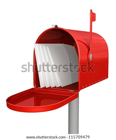 Red classic mailbox with letters