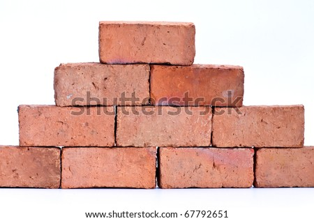 Red clay brick, isolated on white