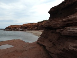Red cliffs at the Thunder Cove
