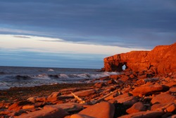 Red cliffs on Prince Edwards Island at sunset