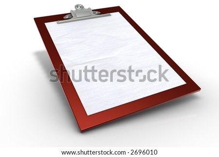 Red Clipboard with Paper