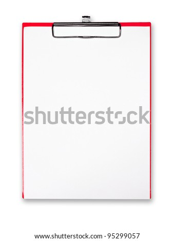 Red clipboard with white paper on white background