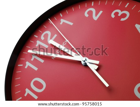 Red clock face, close up