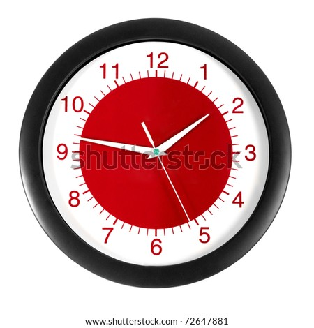 red clock on a white background