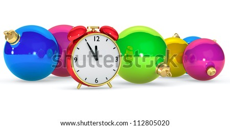 Red clock with christmas balls, Festive background