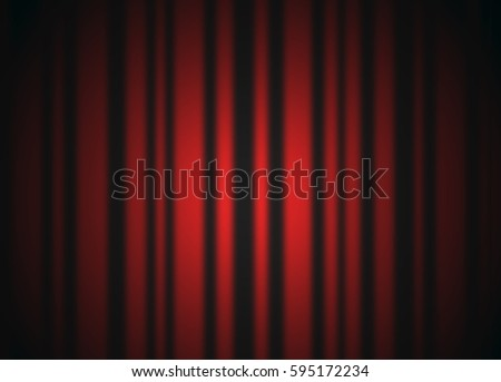 Red closed curtain with light spots, background - Shutterstock ID 595172234
