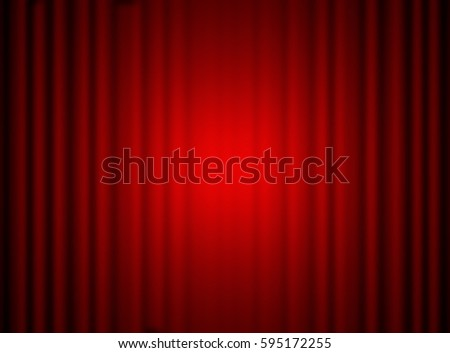 Red closed curtain with light spots, background - Shutterstock ID 595172255