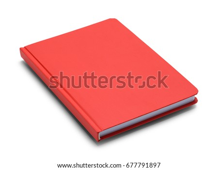 red closed hardback book with...