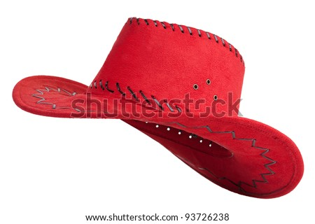 Red cloth cowboy hat, leather laces tied together