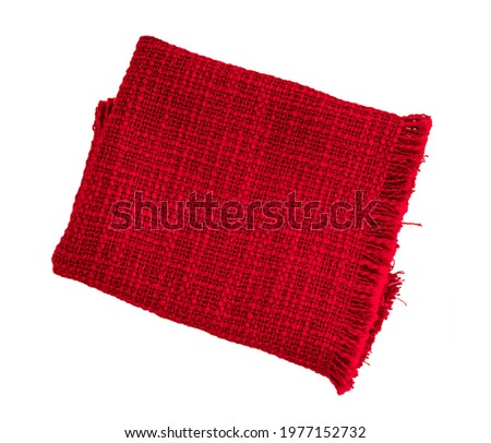 Red cloth napkin isolated on white background. fiber towel or tablecloth. Cotton. Dishtowel. Kitchen. Serviette. Dishcloth. Textile. Stock photo ©