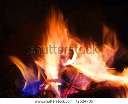 Red coals and fire in wild fireplace