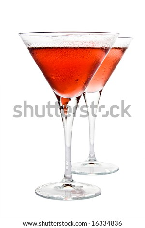 Red cocktail and riped cherry berry