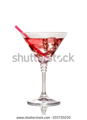 Red cocktail in martini glass isolated on white - stock photo